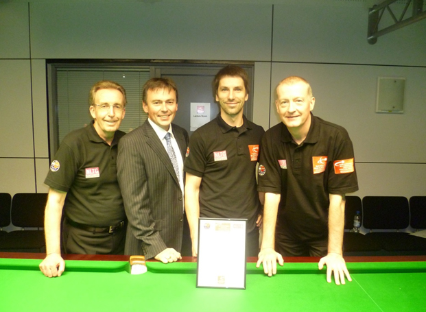 Māris Volajs professional snooker coach in Latvia with Steve Davis and Terry Griffiths  - Cue Sport LV
