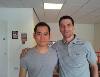 Maris Volajs certificied snooker coach in Latvia with Dechawat Poomjaeng - Cue Sport LV